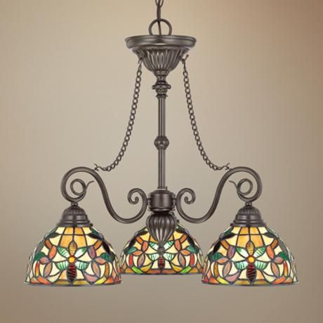 This Classic Style Dinette Chandelier Takes Its Inspiration From Antique Tiffany Lamps Vintage Bronze Finish