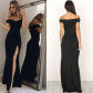 Womenus off shoulder long dress black style dress fashion and