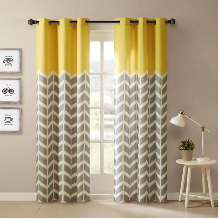 Yellow And Grey Chevron Window Curtains realtagfo