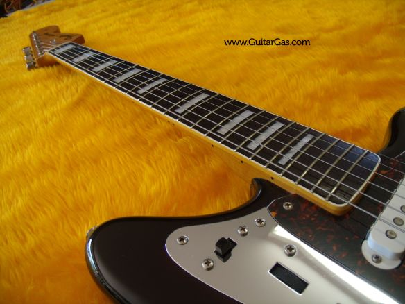 2002 Fender Jaguar with block inlays and vintage sized fret wire.