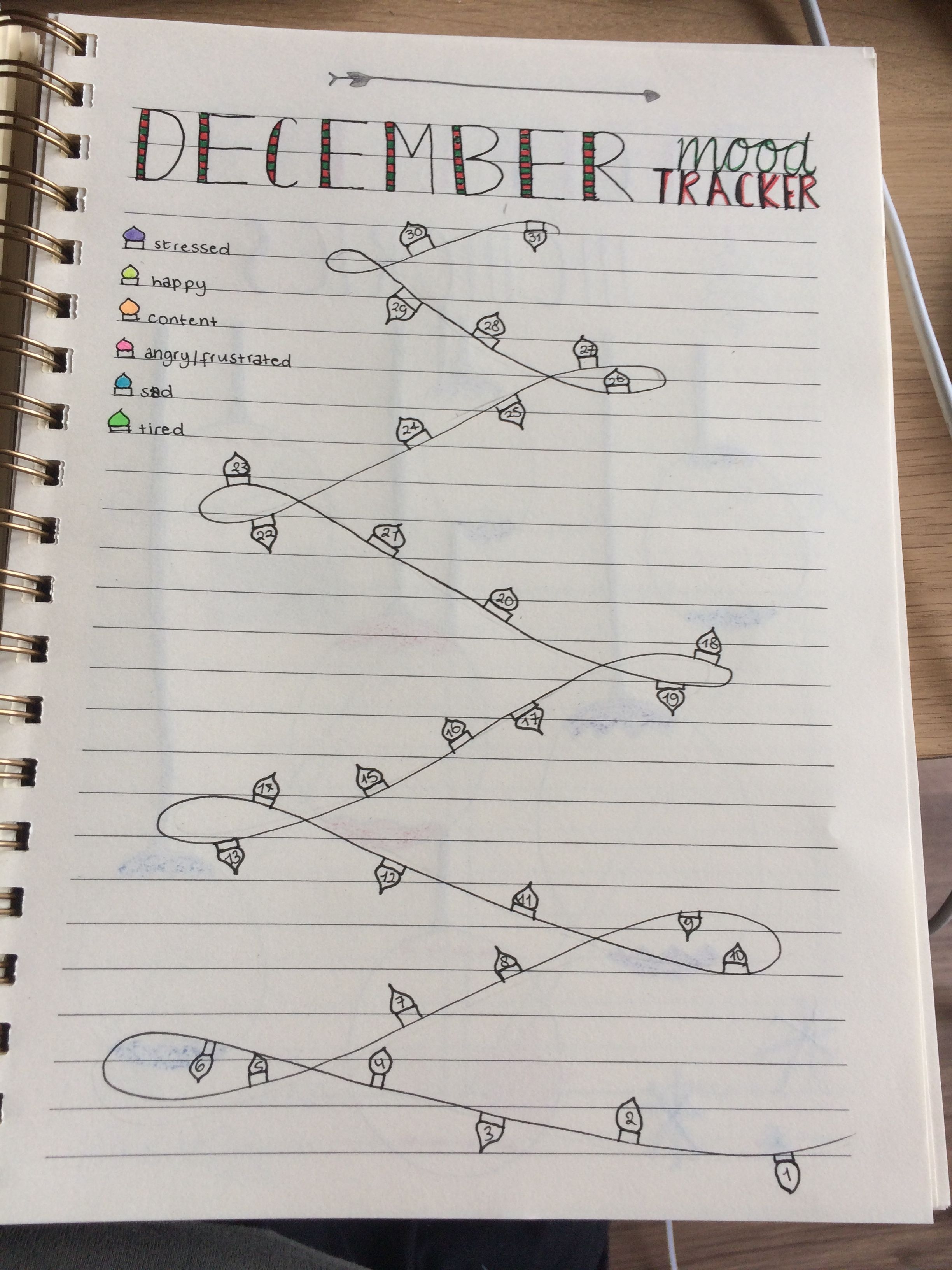 Bullet Journal December Mood Tracker
