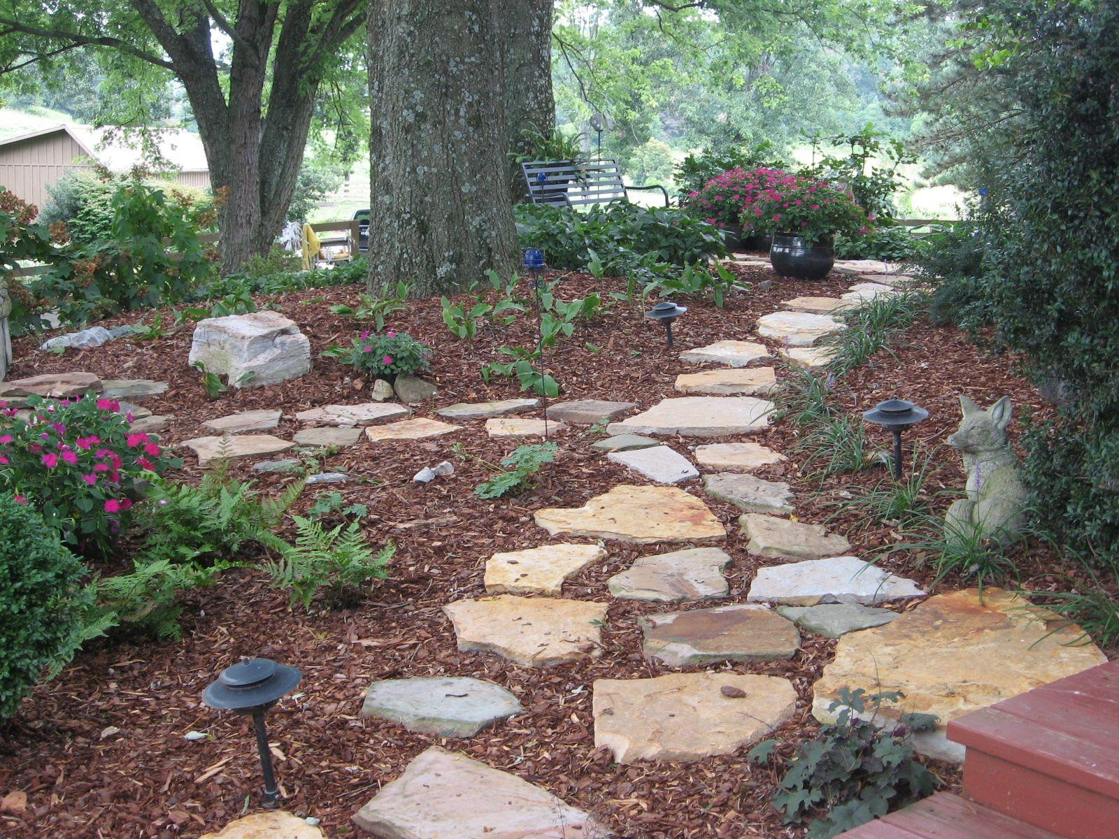 Stone Walkway In Shade Garden | Wooded Back Yard Ideas ... on Shady Yard Ideas  id=85959