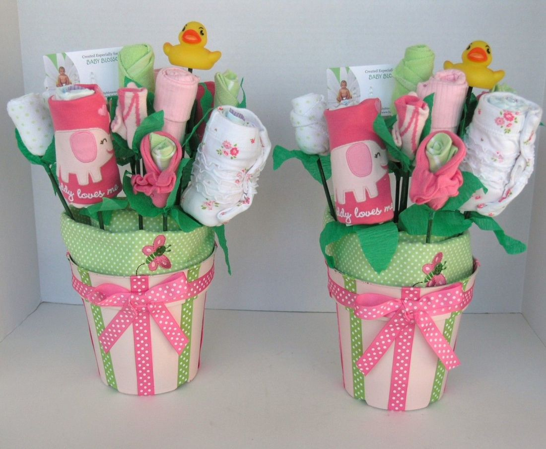 Baby bouquets for twin girls baby shower decor unique