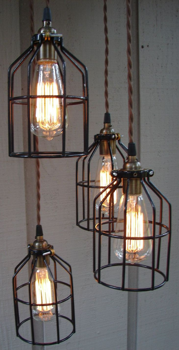 Upcycled Industrial Edison Bulb Cage Hanging Pendant Light Pendant