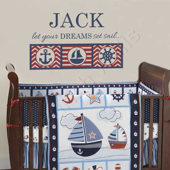 Baby Boy Nursery Decal Personalized Name Wall For Nautical Boys Room Decor Sailboat Anchor Bedroom Art 22hx36w Bn036