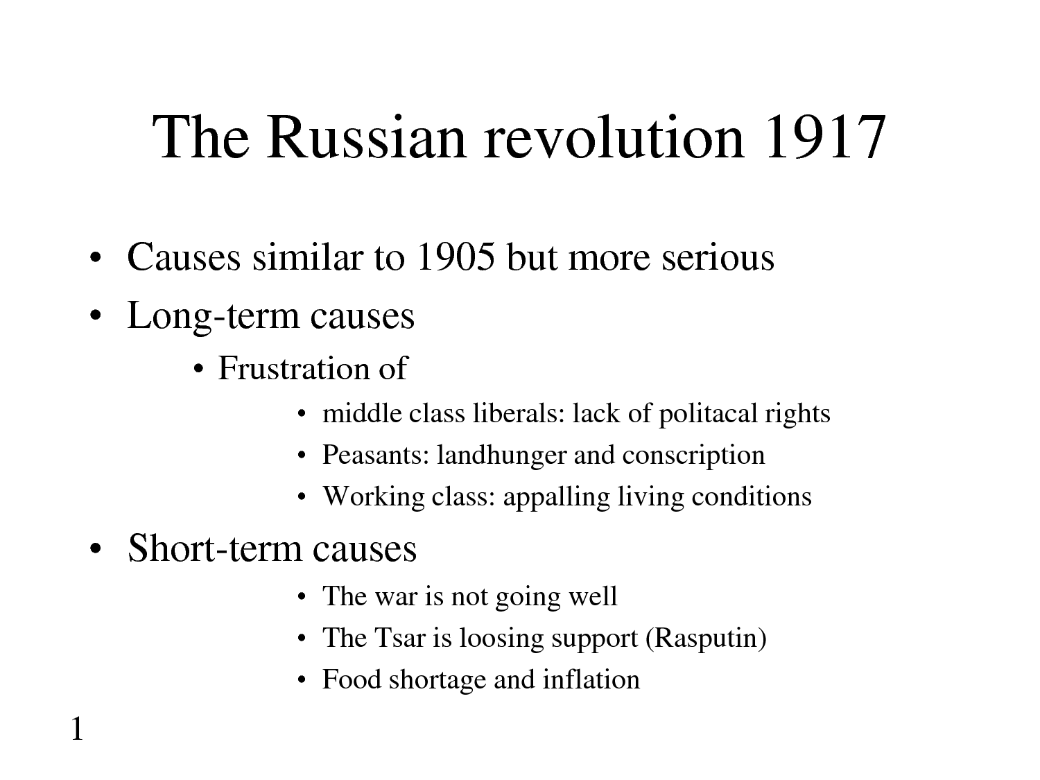 Children Of The Russian Revolution Timeline