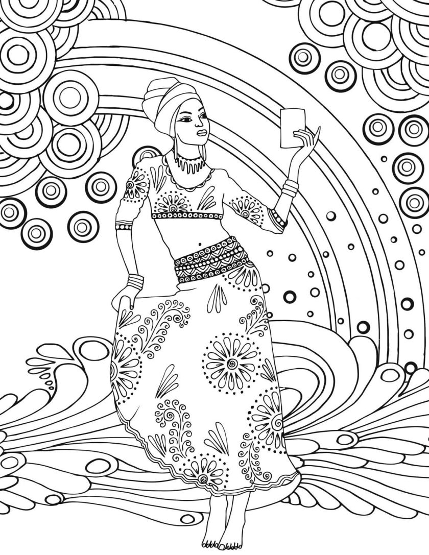 african goddess adult colouring page printable