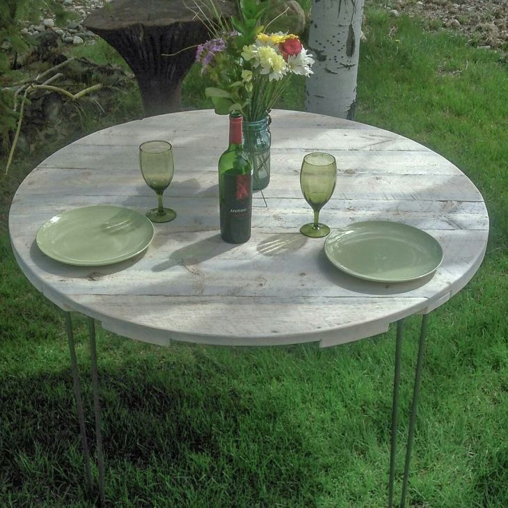 Rustic Round Table Top  rough lumber blue stain lodgepole pine