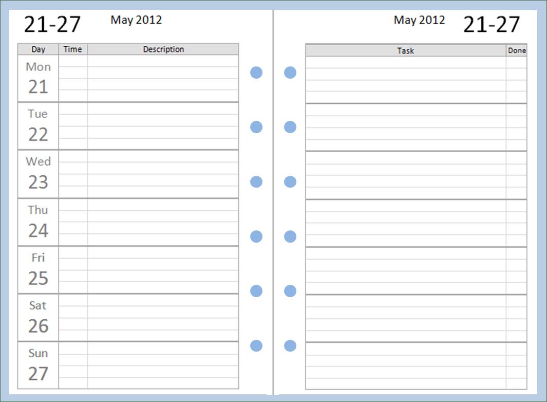 Free Printable Weekly Calendar Templates