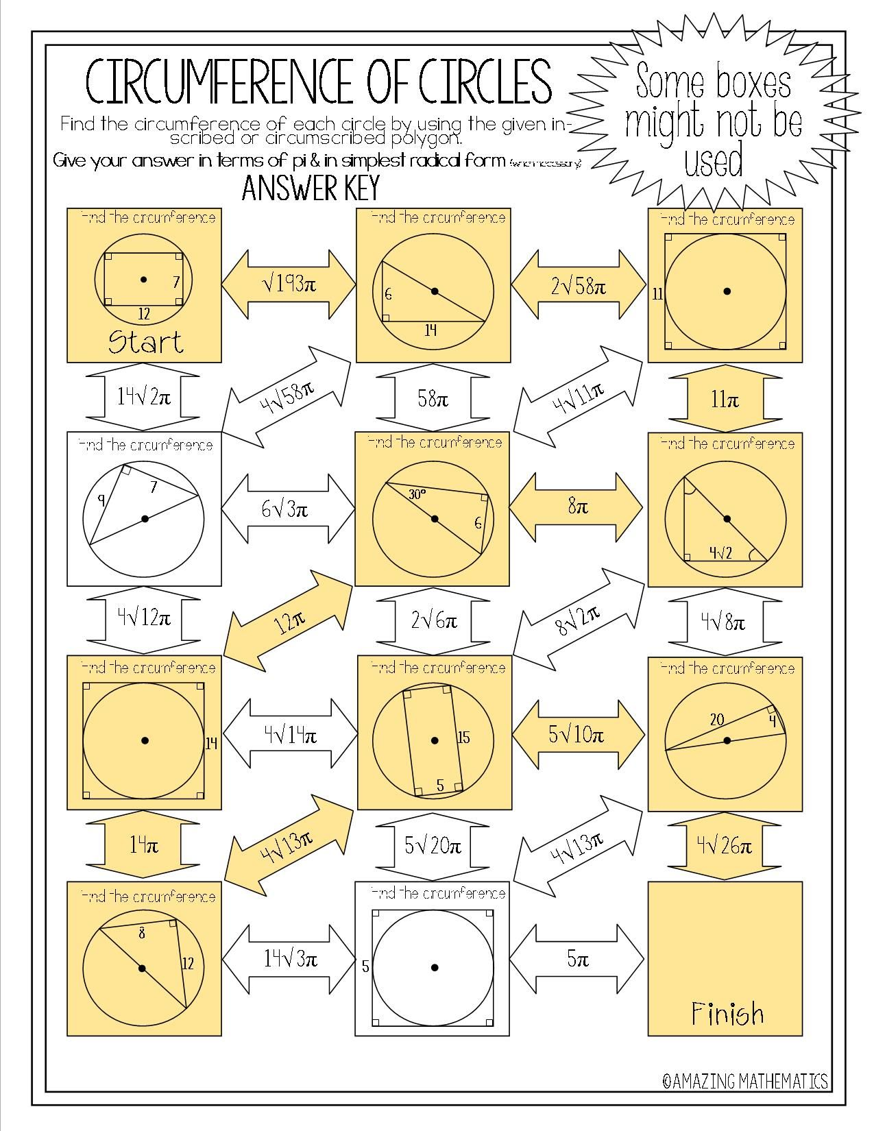 Circumference Of Circles Maze