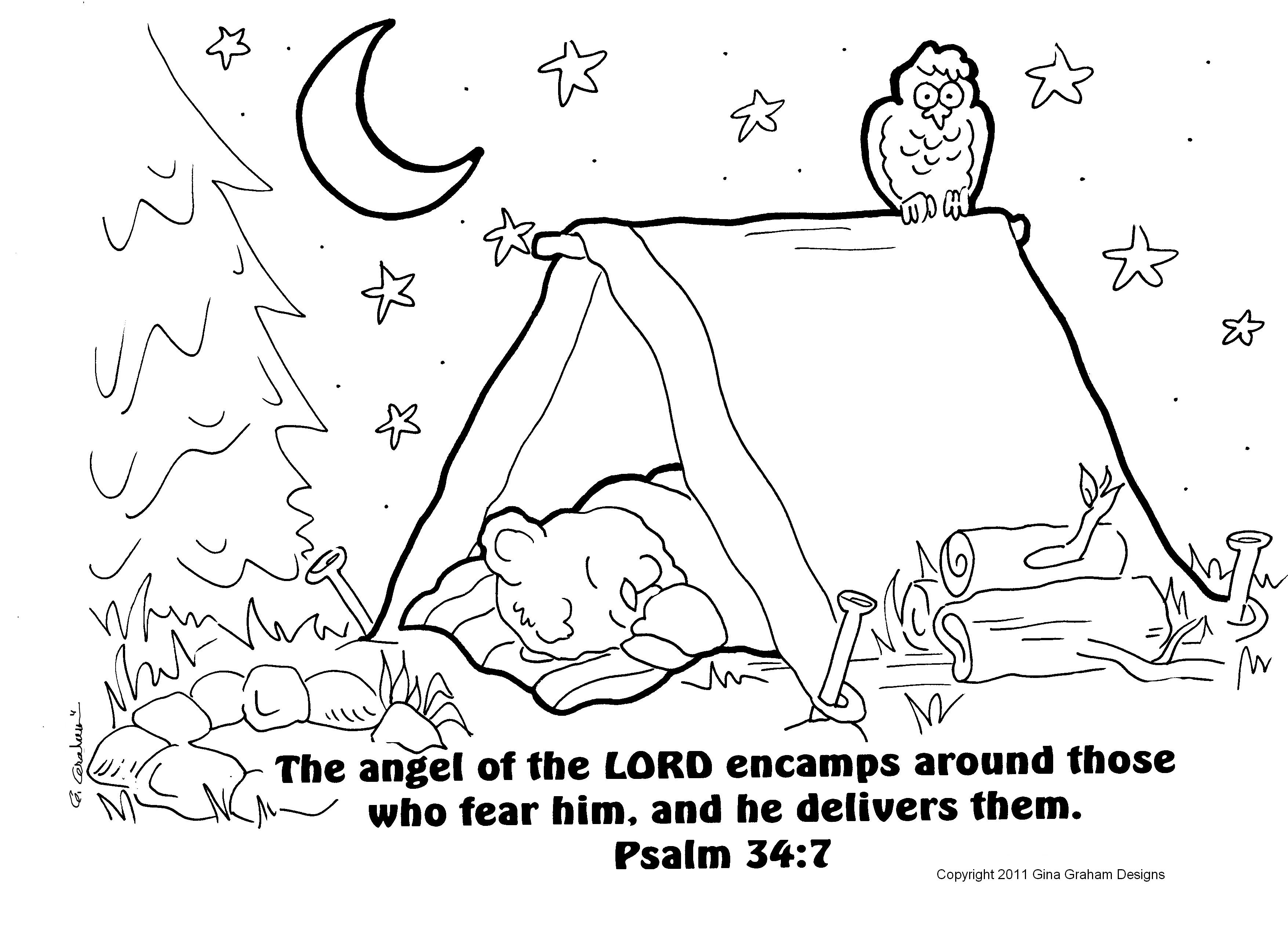 Going Camping Coloring Sheet To Print Out With Bible Verse