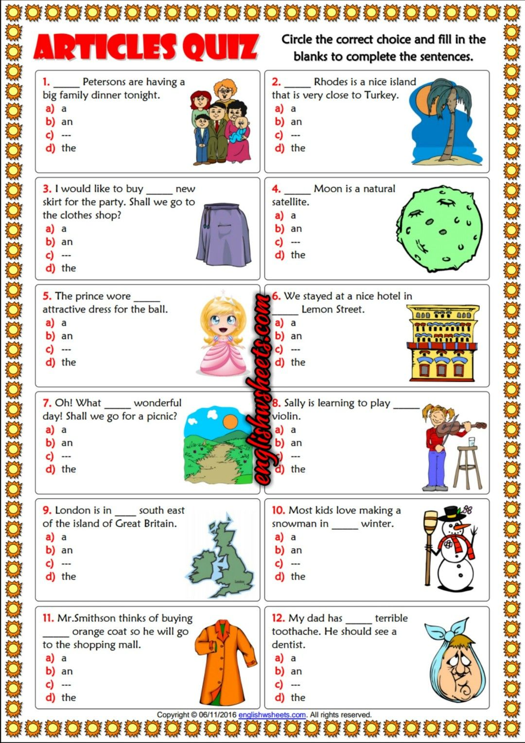 Articles Esl Printable Multiple Choice Quiz For Kids