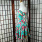 Floral strapless inverted pleated fituflare dress new with tag