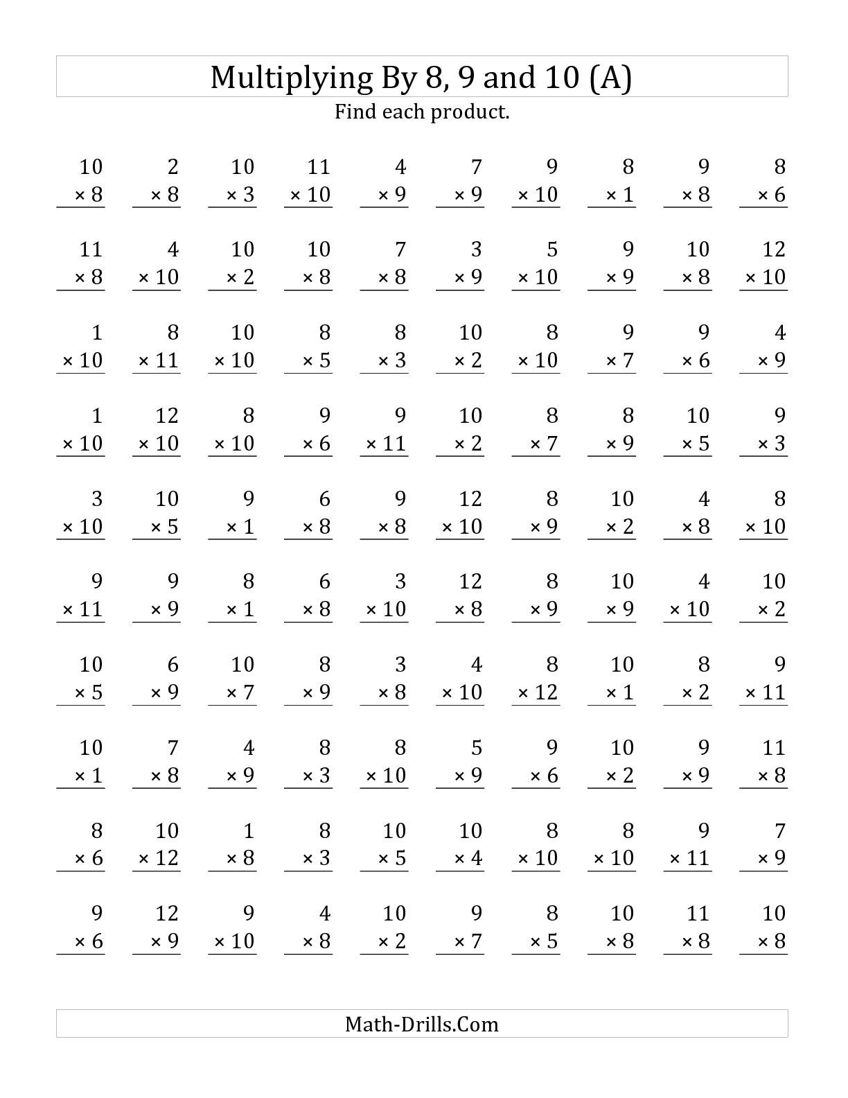 The Multiplying 1 To 12 By 8 9 And 10 A