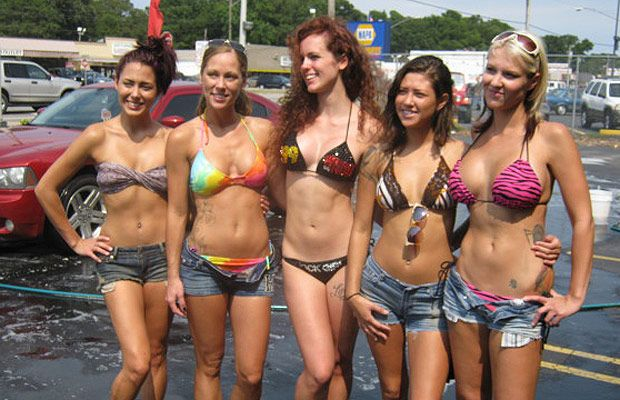 Five Bikini Bike Wash Girls...With the shitty weather, I ...