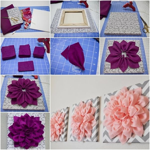 Diy Hazlo Tu Mismo Beautiful Felt Dahlia Flower Wall Art S Bedroom Decoratingbedroom