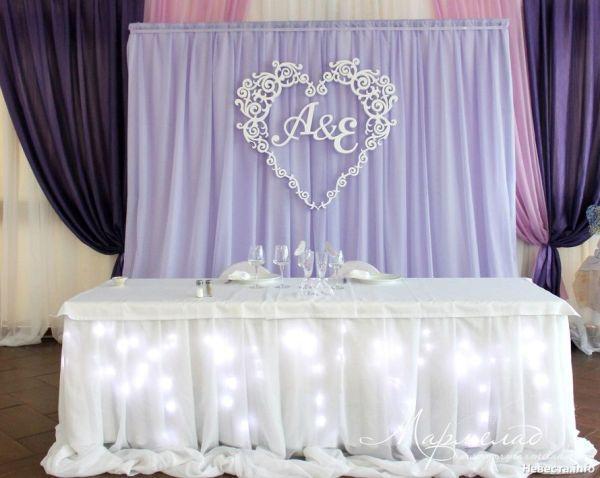Оформление президиума Нежная сиреневая свадьба