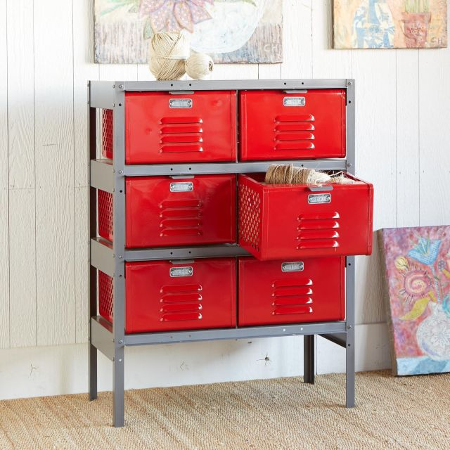 RED HOT 6 BIN LOCKER Our vintage steel locker may have served