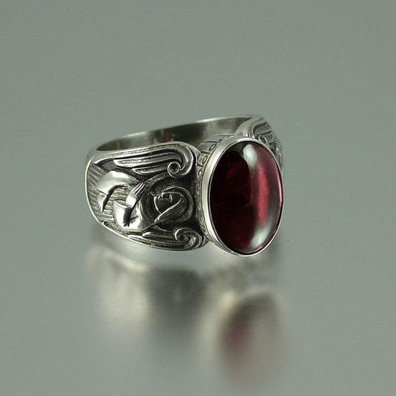 GUARDIAN ANGELS Mens Silver Ring With Garnet Reminds Me