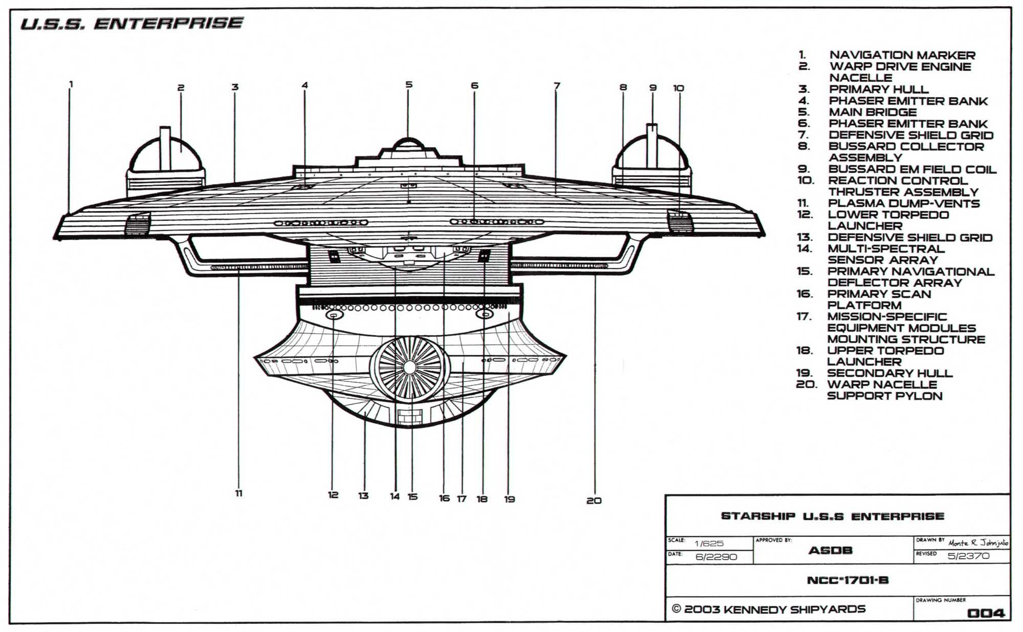 Bow Side Schematic Of The Excelsior Class Enterprise Ncc