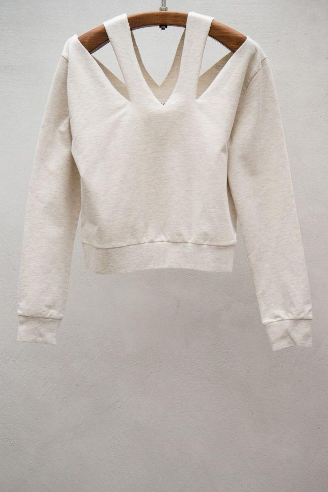 Cutout neck sweater offwhite style closet pinterest