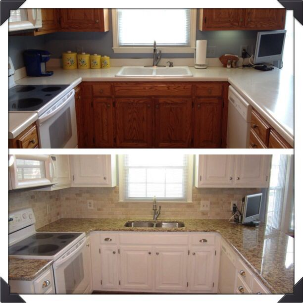 my kitchen before after using annie sloan chalk paint cabinets were 1980 s oak and i used 2 on kitchen cabinets painted before and after id=96942