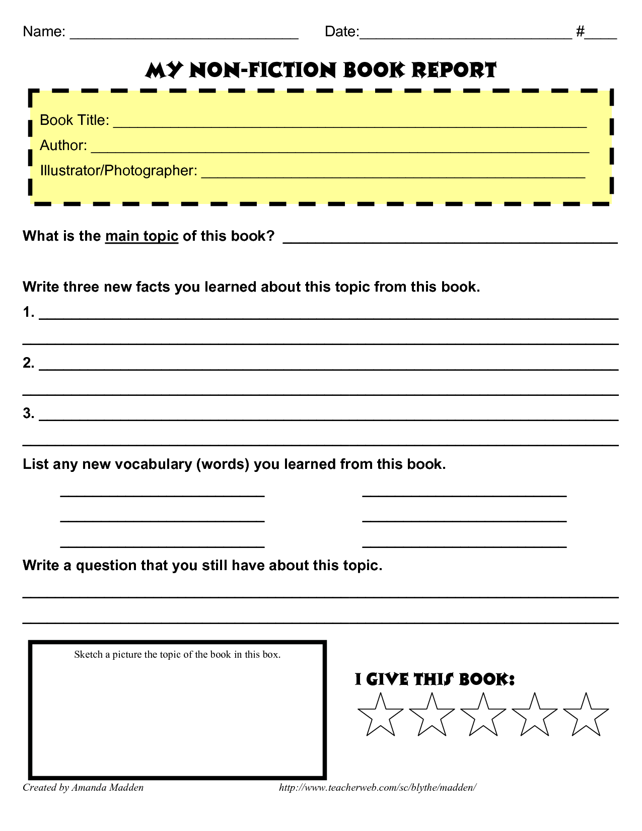 Grade 4 Book Report Template Non Fiction