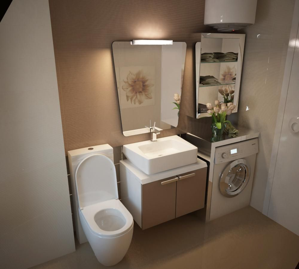 small laundry room design with washing machine under ... on Small Space Small Bathroom Ideas With Washing Machine id=35636