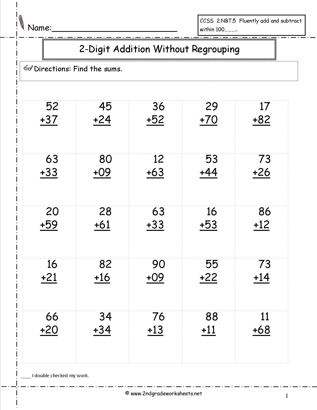Free Addition Printable Worksheets