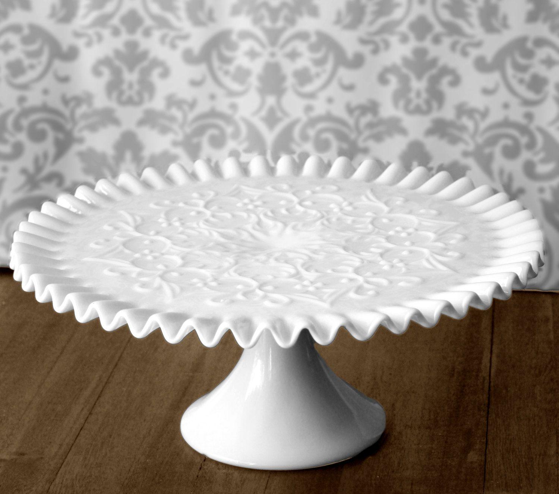 Milk Glass Cake Stand Vintage Cake Stand Cake Pedestal