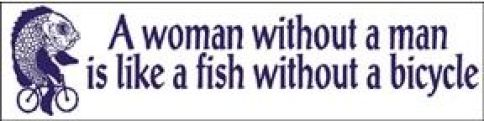 A woman without a fish bumper sticker