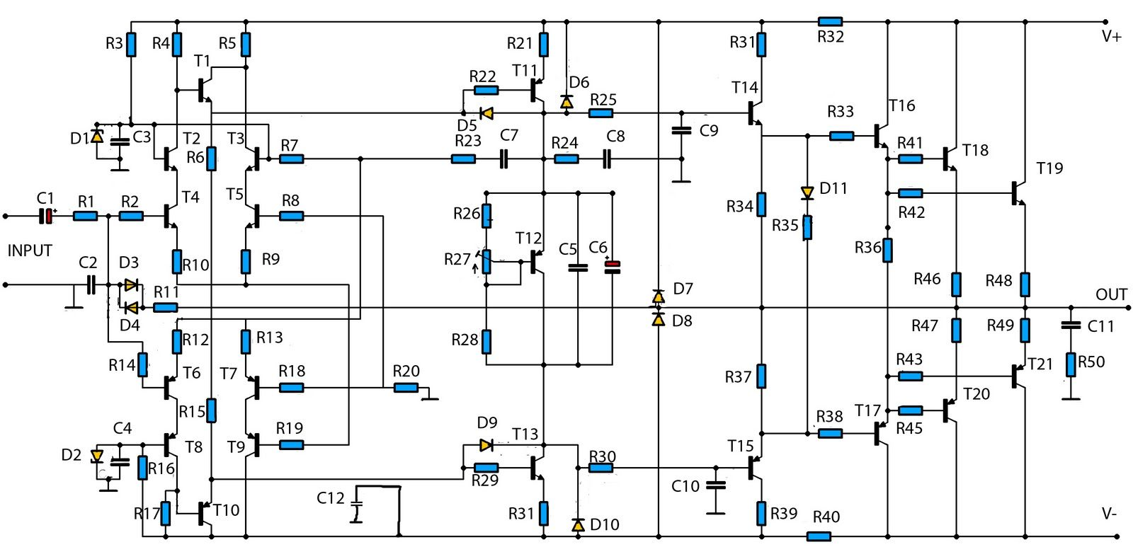2sc 2sa Amplifier Circuit Diagram