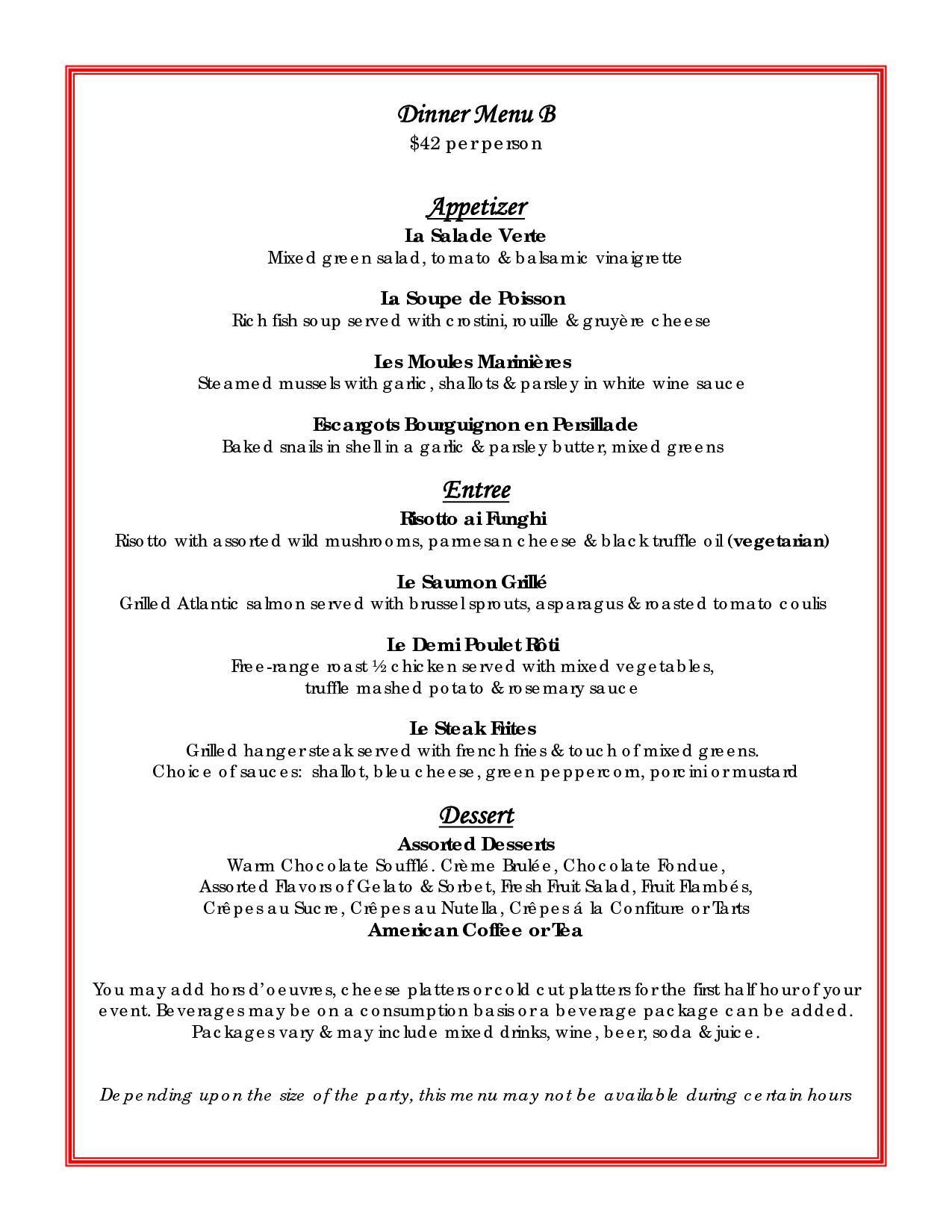 Menu Main Entree Appetizer Dessert