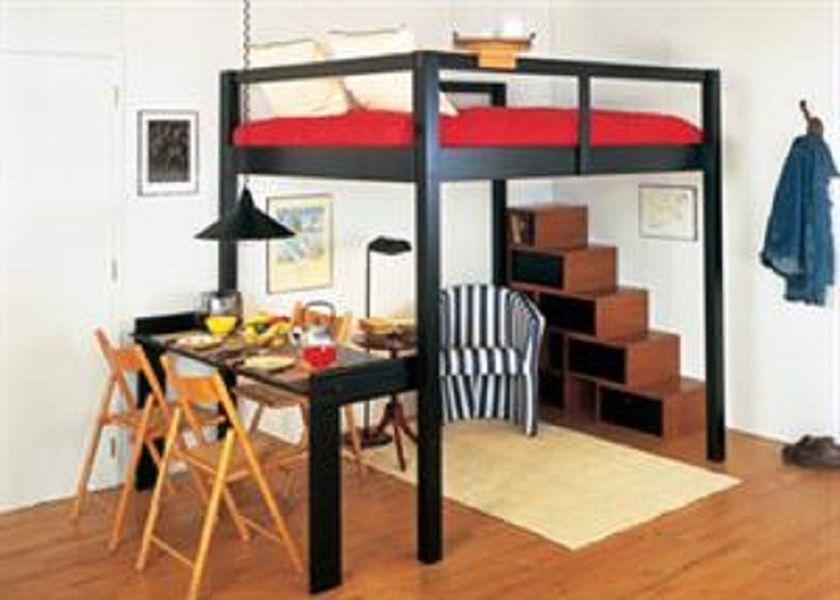 Smart Black King Size Loft Bed For Couples Home Room