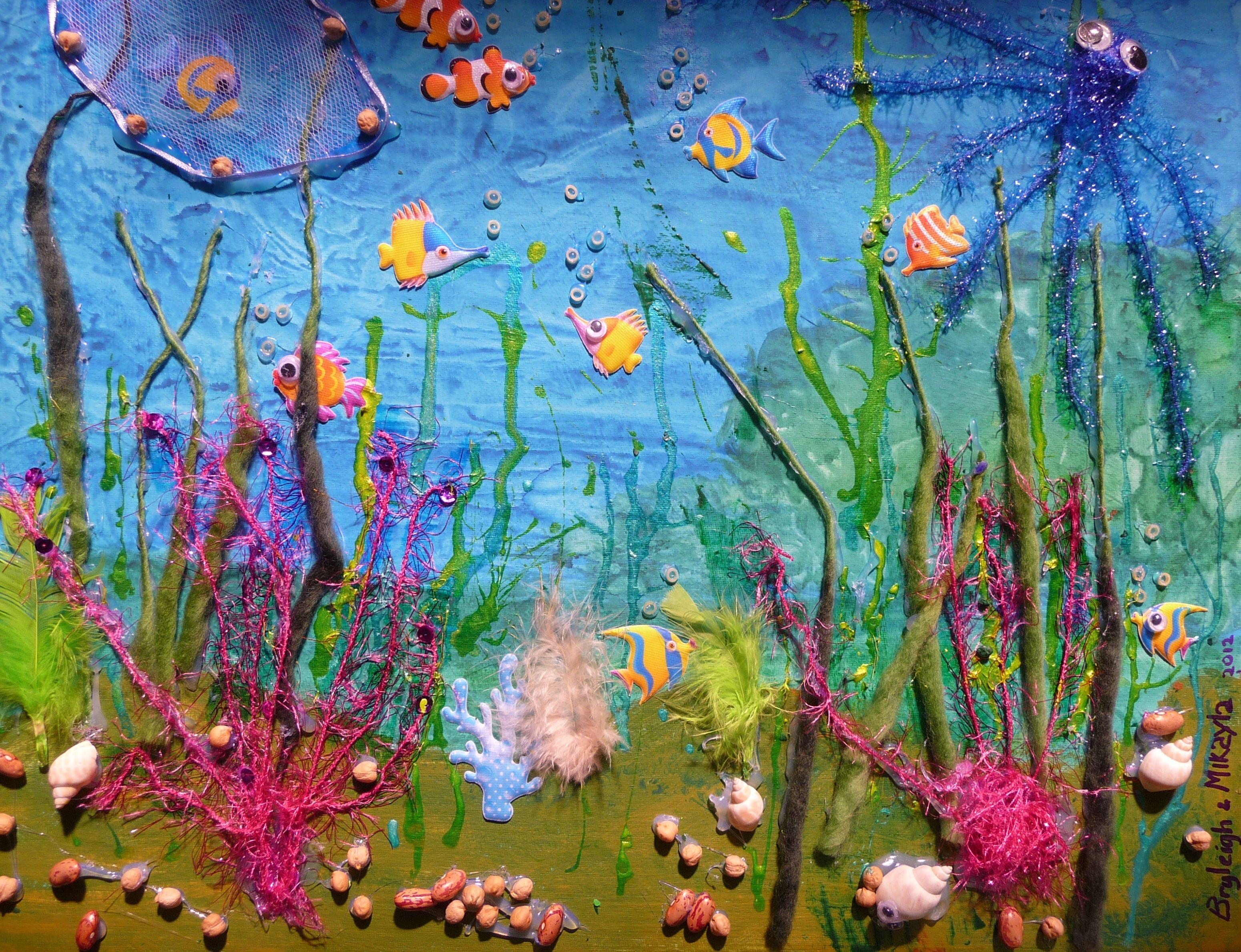 Zee Collage Blauwgeverfd Karton Restjes Wol Kleine