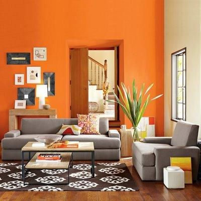 orange paint color ideas living room and grey sofa and on paint ideas for living room id=46586