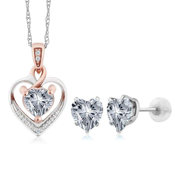 K White Gold Diamond Pendant Earrings Set Made With White