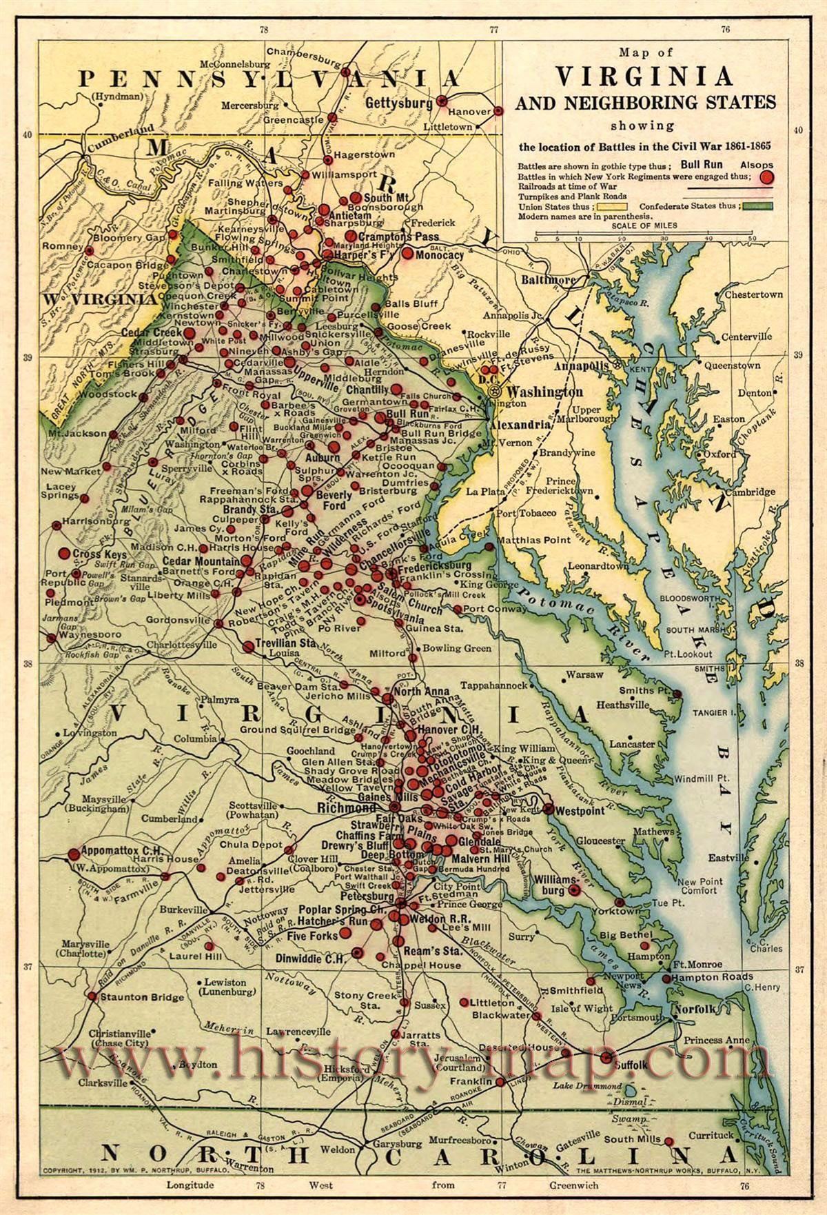 Map Of Civil War Battles In Virginia