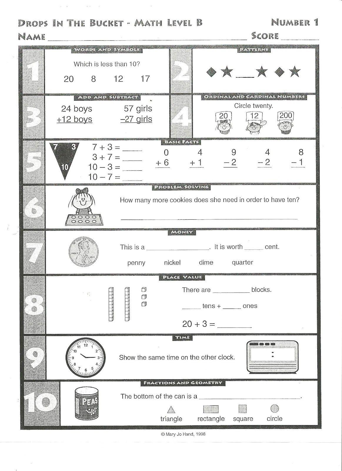 Drop Bucket Worksheets