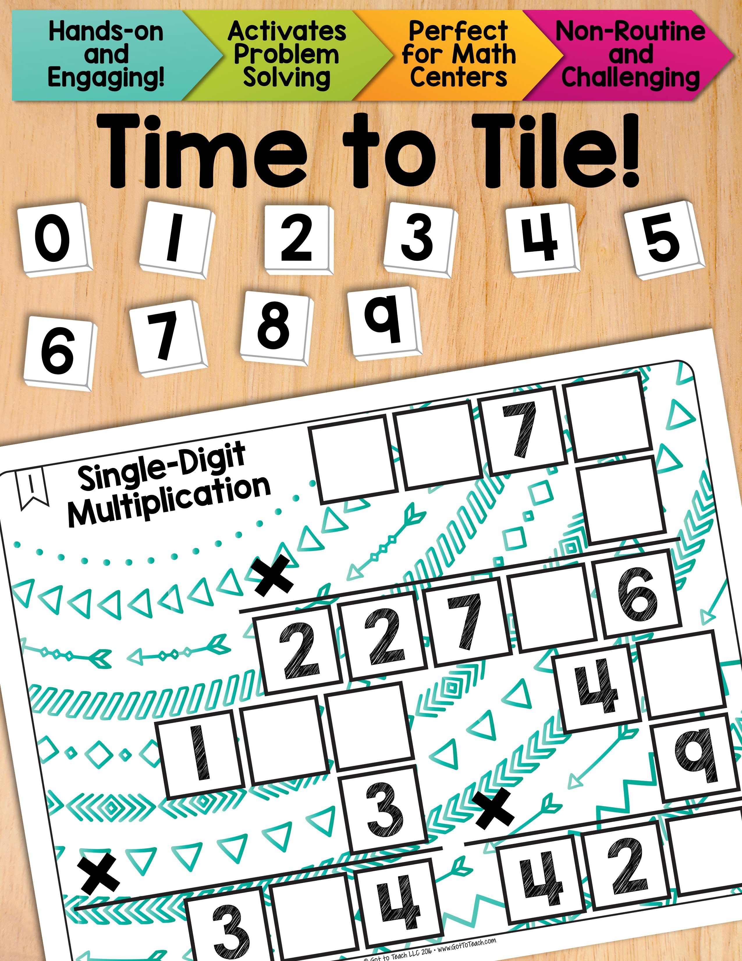 Math Tiles Single Digit Multiplication Math Centers