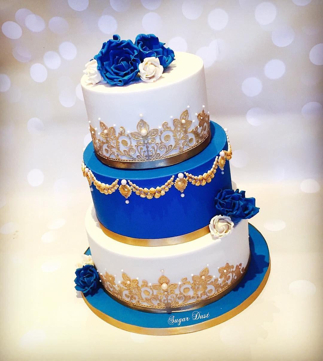 A Royal Blue Amp Ivory Cake For The Lovely Lavanya For