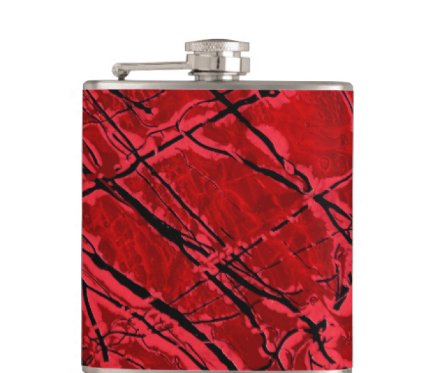 Blood Royale Red Abstract Art Design Hip Flask Original Paintings Can Be