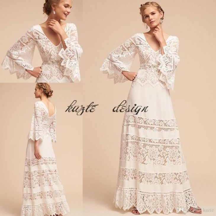 Lace Bell Sleeve Country Bohemian Hippie Wedding Dresses Plus