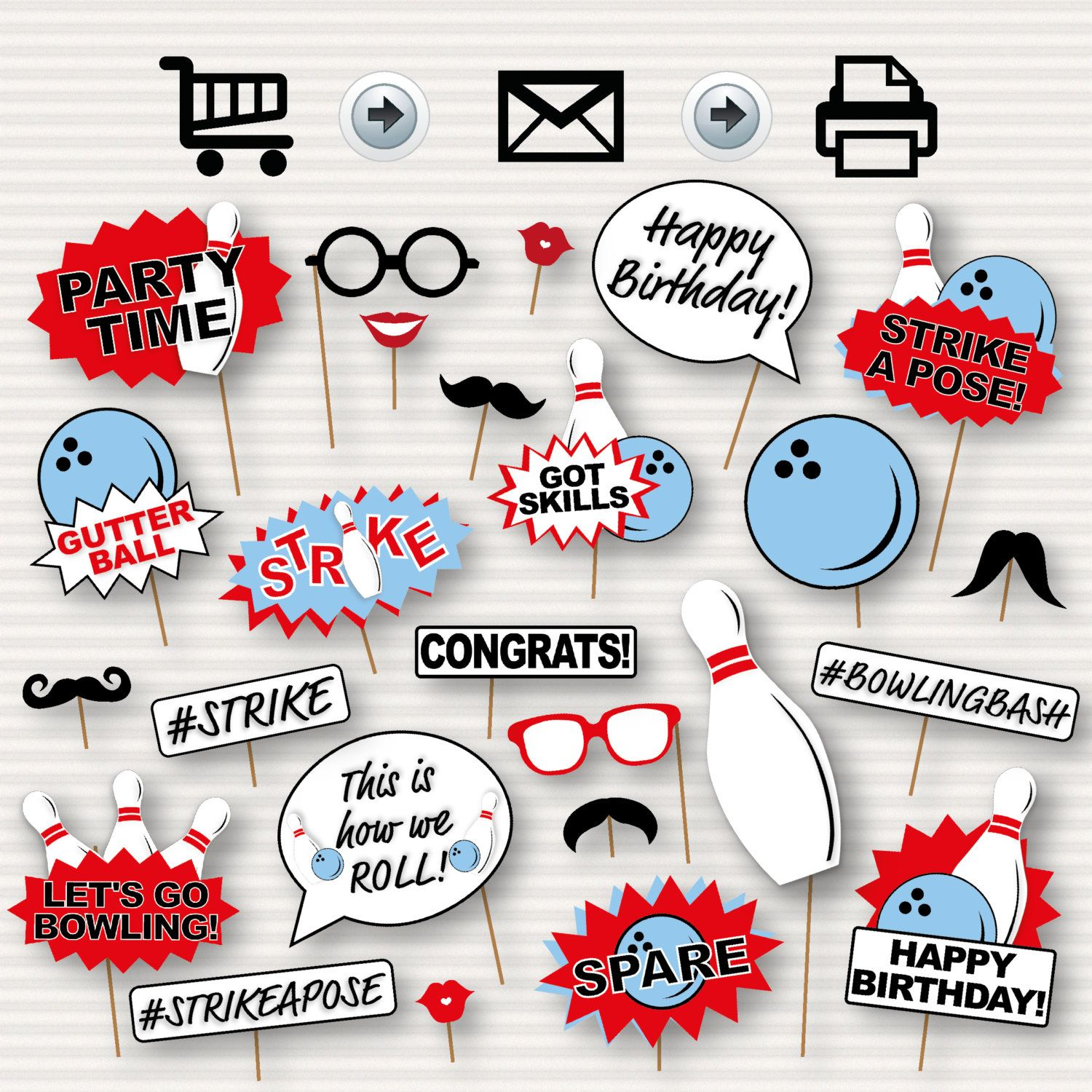 Bowling Party Printable Photo Booth Props Bowling By