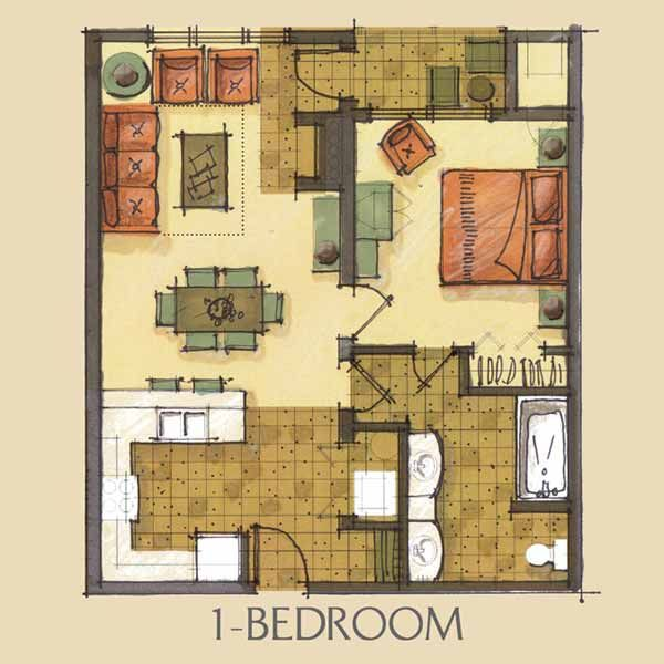 one bedroom condo floor plan - needs a more open kitchen and a