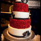 Red white and black wedding cake wedding cakes pinterest