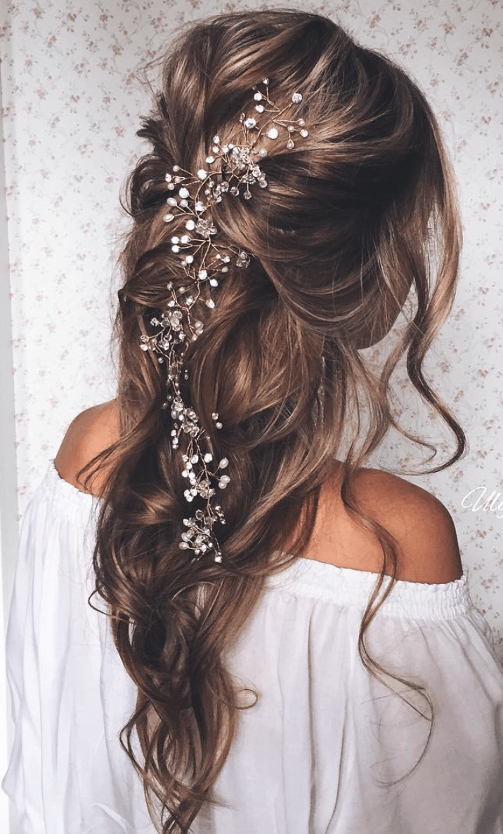 Exquisite Hair Adornments for the Bride Long wedding hairstyles