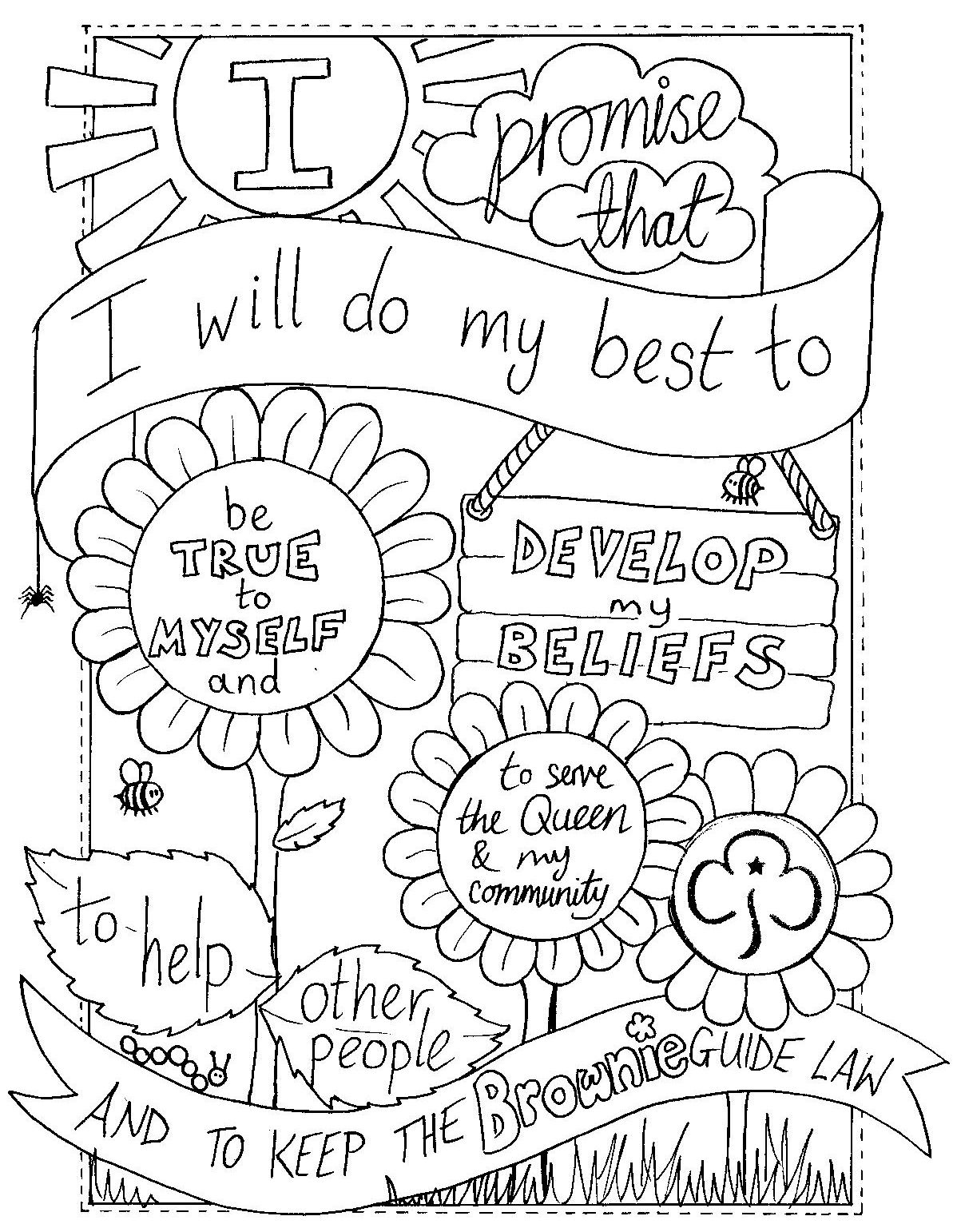 Uk Brownie Promise Colouring Sheet Created By Emyb Emy