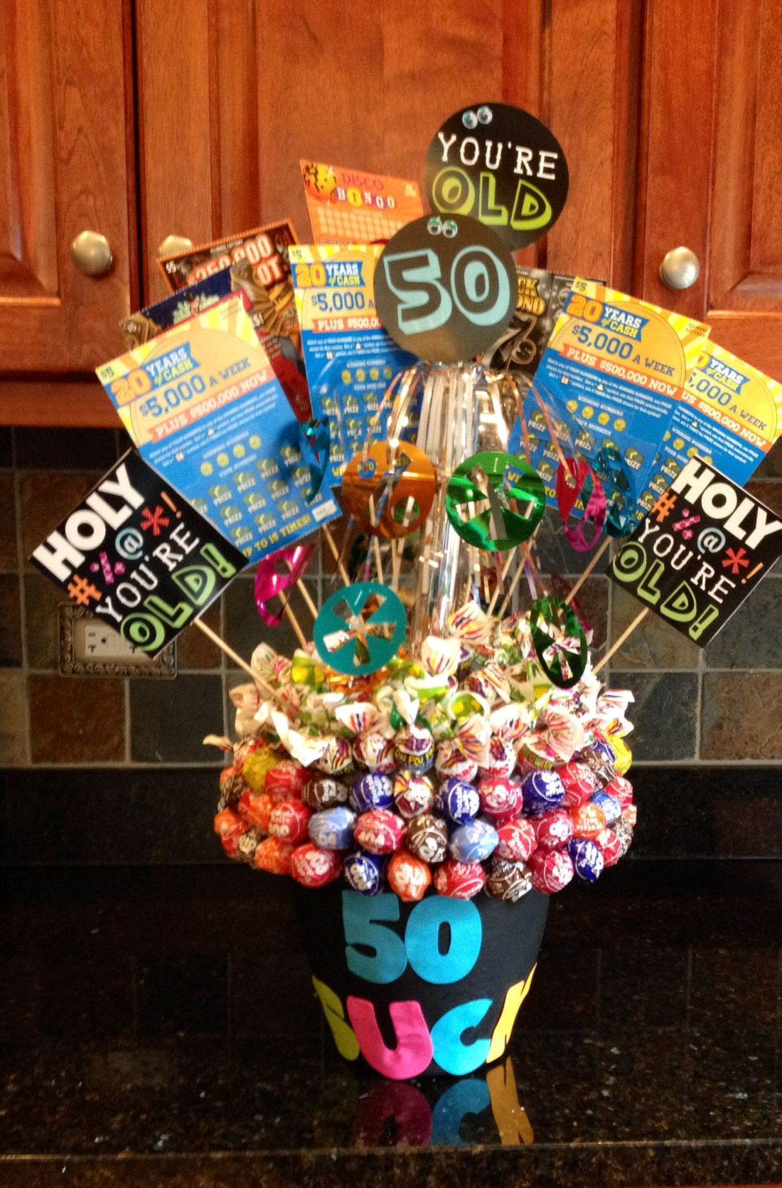 50th birthday bouquet 50 sucks 10 500 scratchoff
