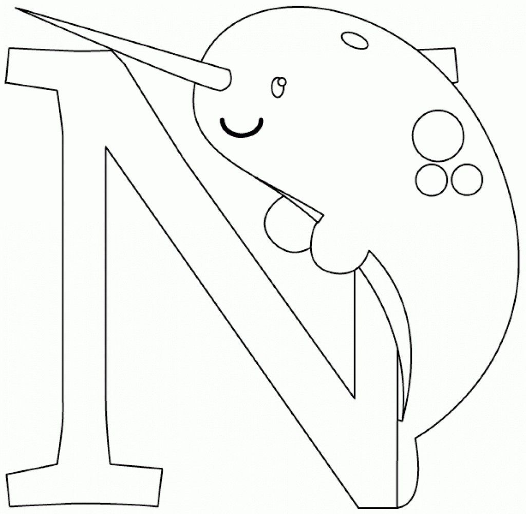 N Is For Narwhal Coloring Page For Kindergarten Kids